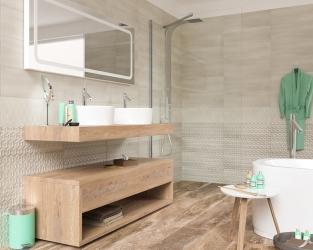 Jasna łazienka w stylu skandynawskim, z wanną i natryskiem