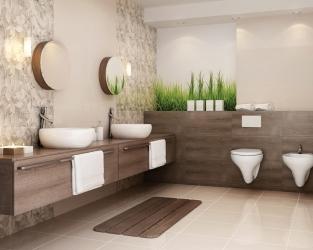 Beżowo-brązowa łazienka w stylu eco