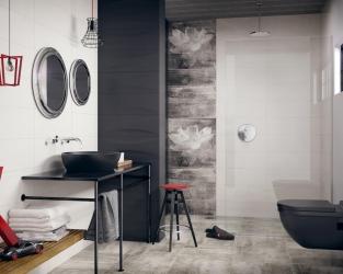 Biało-szara łazienka z wnęką prysznicową