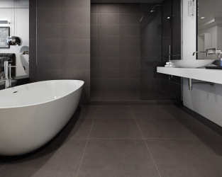 Grafitowa, minimalistyczna łazienka przy sypialni