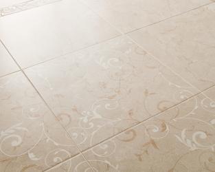 """Ceramiczny """"dywan"""" - łazienkowa podłoga z kwiatowym wzorem"""