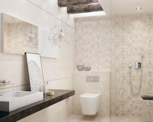 Mała łazienka z prysznicem w barwach piaskowca