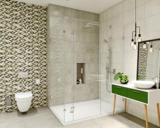 Niewielka, nowoczesna łazienka z prysznicem w jasnych barwach ziemi