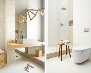 Naturalność barw, faktur i wzorów w jasnej łazience