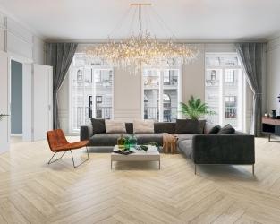 Nowoczesna klasyka w salonie z drewnopodobną podłogą