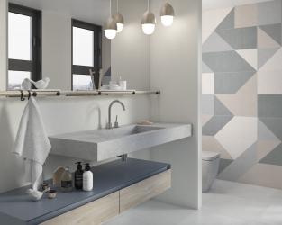 Jasna łazienka w stonowanych beżach i szarościach, z geometrycznym dekorem