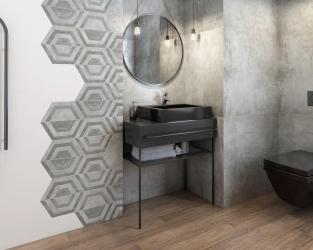 """Modna łazienka w """"betonowych"""" szarościach"""