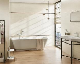 Ciepła nowoczesność jasnej łazienki