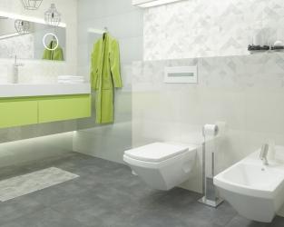 Gra kształtów i światła w małej minimalistycznej łazience