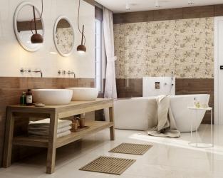 Nowoczesna eco-klasyka - przestronna beżowo-brązowa łazienka