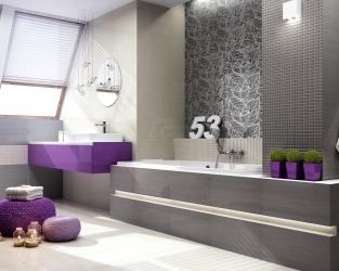 Szaro-biała łazienka ze skosami i barwnymi akcentami