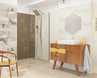 Beżowo-brązowa łazienka w stylu eco z motywem geometrycznym