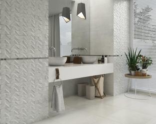 Jasna, kamienna łazienka ze strukturą trójwymiarowych trójkątów