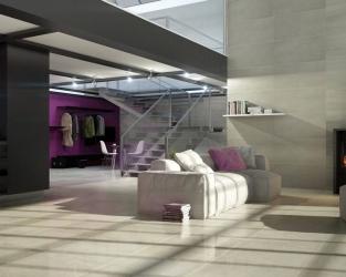 Duże nowoczesne wnętrze ze schodami i kominkiem
