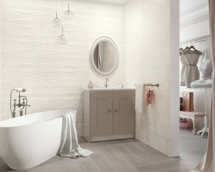 Subtelna łazienka połączona z garderobą