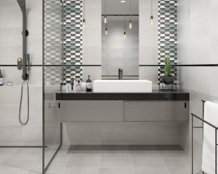 Minimalistyczna szara łazienka z geometrycznym wzorem