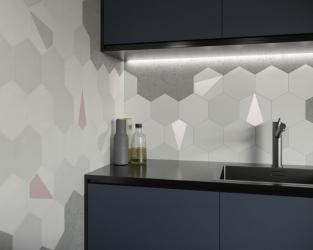 Nowoczesna kuchnia zdobiona geometrycznymi płytkami