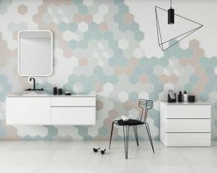 Pudrowo-geometryczna, nowoczesna łazienka