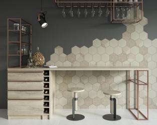 Antracyt i drewno w nowoczesnej, geometrycznej kuchni