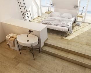 Przytulna sypialnia z łazienką w stylu skandynawskim