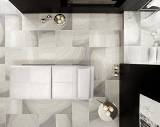 Widok z góry na ekskluzywny salon relaksu przy łazience
