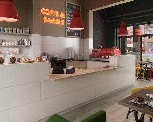 Nowoczesne, jasne wnętrze restauracji w białych wielkoformatowych płytkach