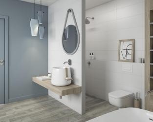 Nowoczesna, biała łazienka w eleganckim stylu