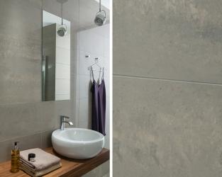 Proste formy w minimalistycznej, szarej łazience