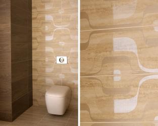 Zdobiona strefa wc w tradycyjnej łazience