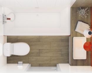 Podłużny układ niewielkiej łazienki