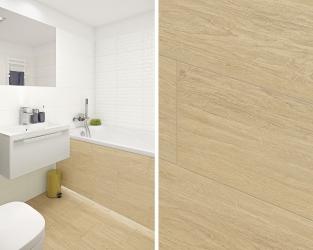 Drewno w jasnej łazience