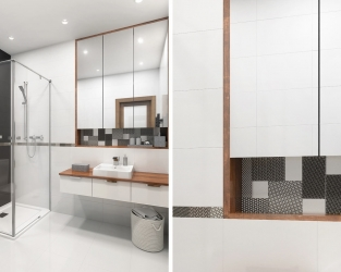Linia dekoru w małej łazience