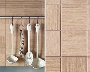 Drewniana mozaika ceramiczna w kuchni
