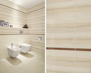 Subtelne poziome linie w jasnej, klasycznej łazience