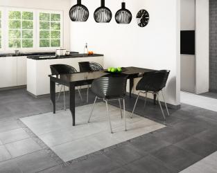 Elegancki minimalizm w przestrzeni kuchenno-jadalnej