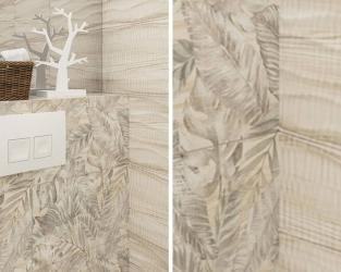 Jasna strukturalna płytka w wystroju łazienki