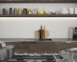 Płytki klinkierowe o wyglądzie białej cegły w kuchni