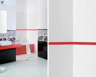 Biel, czerń i czerwień plus linie oraz kwiatki w łazience