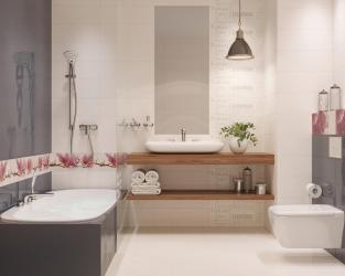 Duża łazienka w bieli, graficie i kwiatach magnolii