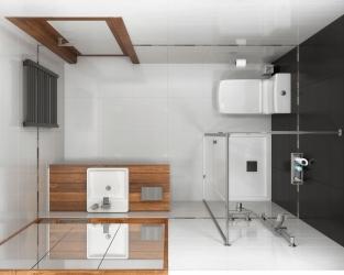 Monochromatyczna łazienka w stylu minimalistycznym