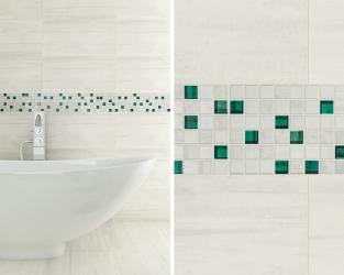 Nowoczesna biała łazienka z akcentami turkusu