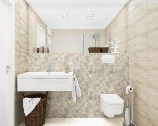 Egzotyczny wzór w niewielkiej łazience