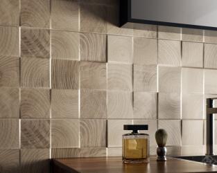 Ceramiczna kostka drewniana w łazience w stylu skandynawskim