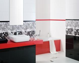 Biało Czarna łazienka Z Czerwonymi Dodatkami W Stylu Glamour