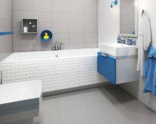 Minimalistyczny układ łazienki