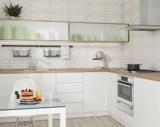 Płytki o wyglądzie cegły w funkcjonalnej kuchni