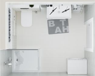 Połączenie jasnej szarości z bielą cegły w łazience