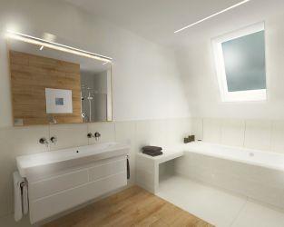 Przytulny pokoik kąpielowy w bieli i jasnych barwach drewna
