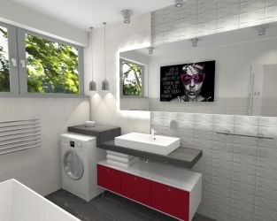 Biała cegła w małej łazience z wanną