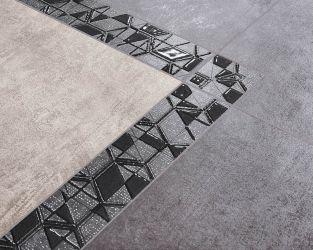 Fragment podłogi nowoczesnego salonu w szarościach